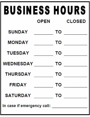Store hours template word zrom business hours signs accmission Images