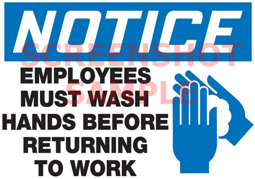 Employees Must Wash Hands Sign, sample