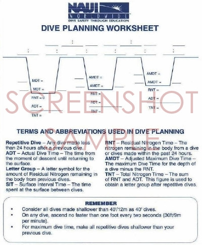 NAUI Repetitive Dive Planner, sample