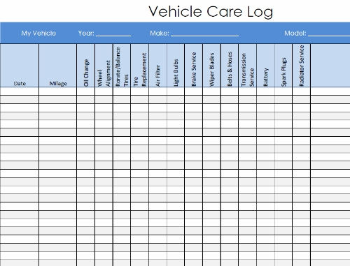 vehicle service log