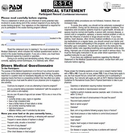Divers Medical Questionnaire, sample