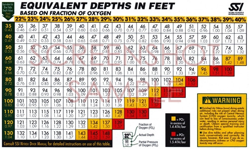 SSI Equivalent Depths in Feet Tables, sample